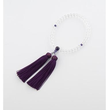 【念珠 数珠 女性用】 ご進物用 本水晶/紫水晶仕立 紙箱入