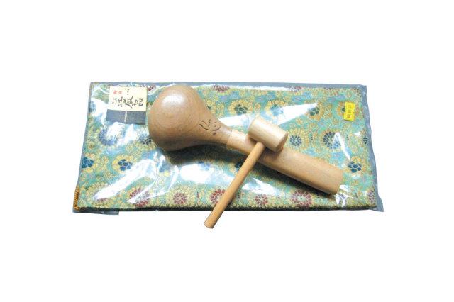 【仏具】携帯木魚 2.5寸 (巾着袋付)