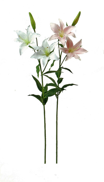 【造花 常花】 カサブランカ 8本 (白×4本 ピンク×4本)