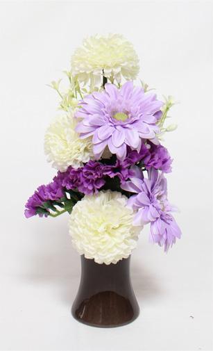 【造花 常花】 マムとガーベラ 「安らぎ」 1本 化粧箱入・花器付