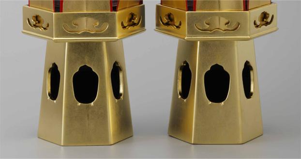 【寺院用】お華束用台座 木型六角供花三方金 1対(2個)セット