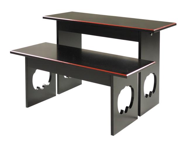 【お供物台 机】 二段式お供物台 簡単組立式 大・小各1台セット 黒面朱