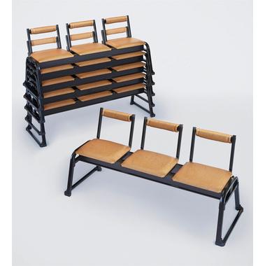 【寺院 神社 本堂用 椅子】 新本堂用椅子 3人掛け 背もたれ (座高40cm) 2脚セット