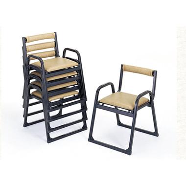 【寺院 神社 本堂用 椅子】 新本堂用椅子 背もたれ/アーム付 (座高40cm) 5脚セット