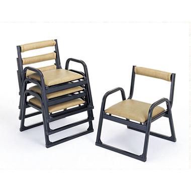 【寺院 神社 本堂用 椅子】 新本堂用椅子 背もたれ/アーム付 (座高30cm) 5脚セット