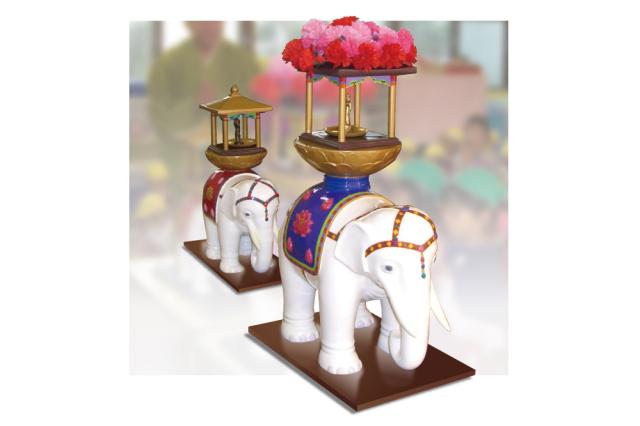【寺院用仏具 花まつり】 白象セット(強化プラスチック) 木製置台付