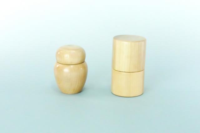 【仏具 骨壺】  木製 小型骨壺 / 広金骨袋2寸