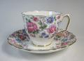 クラウンスタッフォードシャー Crown Staffordshire フラワーパターン ティーカップ&ソーサー【アンティーク品】