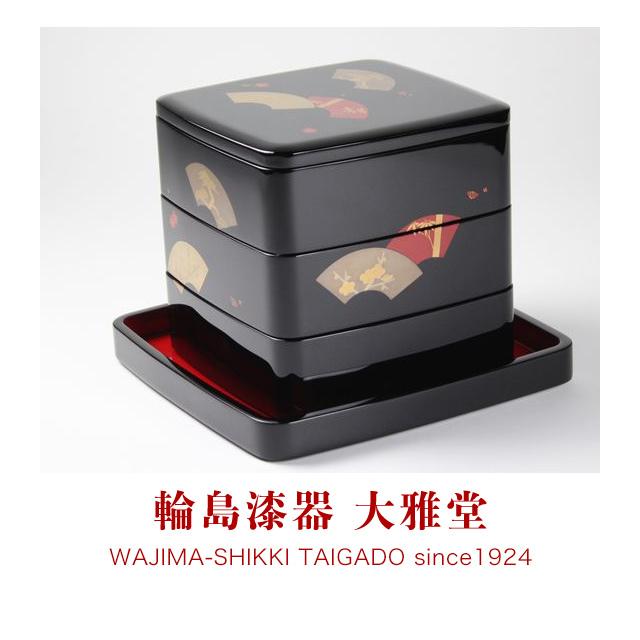 三段重箱(6.5寸)地紙松竹梅蒔絵