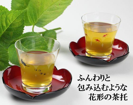茶托 花型・内朱呂色(限定2枚)