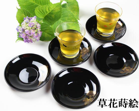 茶托 絵替わり草花蒔絵(限定5枚)