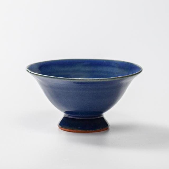 萩焼(伝統的工芸品)小鉢藍釉末広