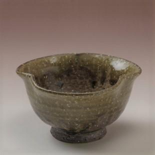 萩焼(伝統的工芸品)小鉢緑釉三つ葉