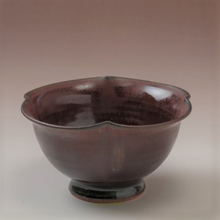 萩焼(伝統的工芸品)小鉢鉄赤釉四つ葉