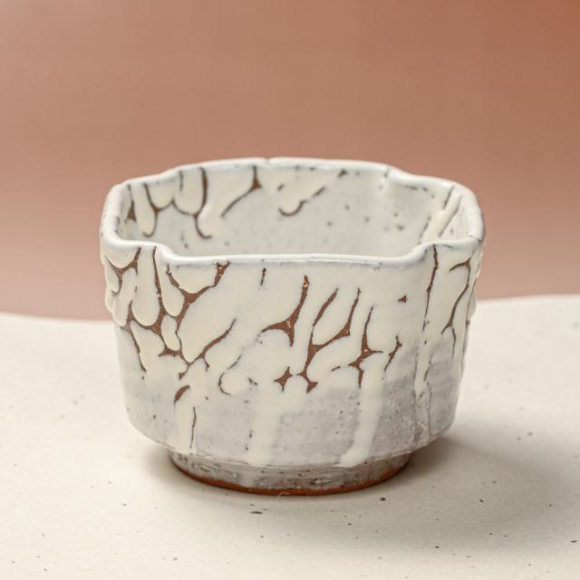 萩焼(伝統的工芸品)小鉢鬼白松四方角
