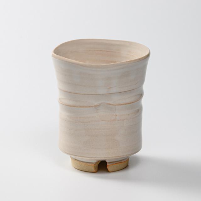 萩焼(伝統的工芸品)大湯呑白姫端反えくぼ
