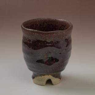 萩焼(伝統的工芸品)大湯呑鉄赤釉荒呉器えくぼ