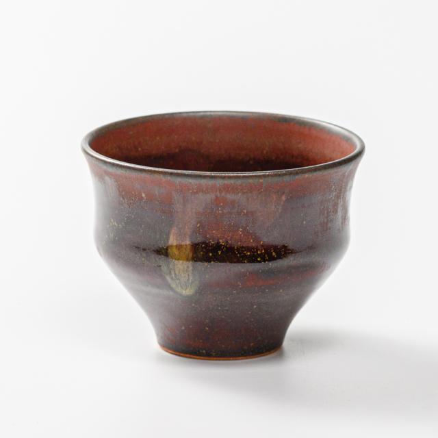 萩焼(伝統的工芸品)そばちょこ鉄赤釉柿のへた