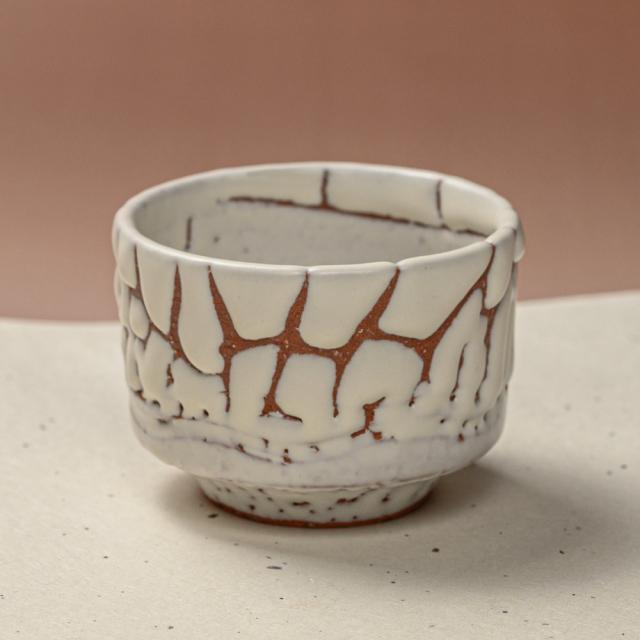 萩焼(伝統的工芸品)そばちょこ鬼白特筒線彫