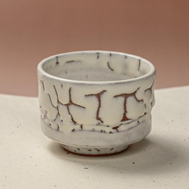 萩焼(伝統的工芸品)そばちょこ鬼白松筒線彫