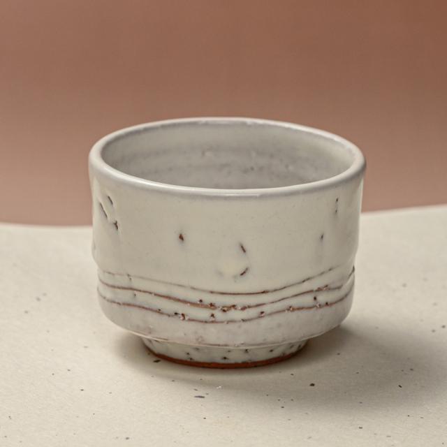 萩焼(伝統的工芸品)そばちょこ鬼白竹筒線彫