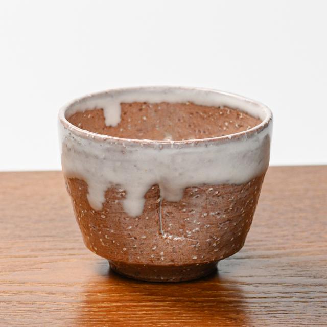 萩焼(伝統的工芸品)そばちょこ白萩掛分け呉器ヘラメ