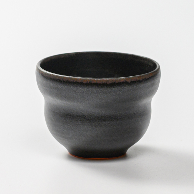 萩焼(伝統的工芸品)そばちょこ黒釉ひさご