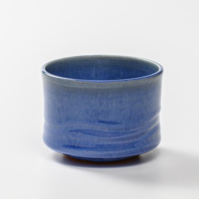 萩焼(伝統的工芸品)そばちょこ透青釉筒線彫