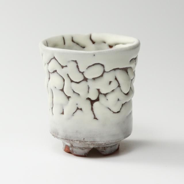 萩焼(伝統的工芸品)大湯呑鬼白松端反えくぼ桜高台