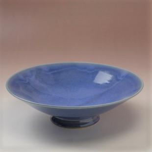 萩焼(伝統的工芸品)平鉢透青釉末広