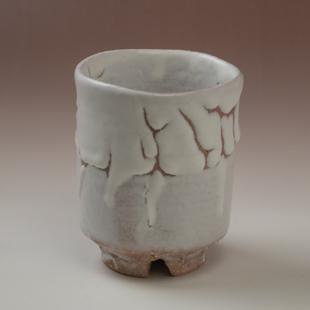 萩焼(伝統的工芸品)大湯呑鬼白荒松筒ヘラメ