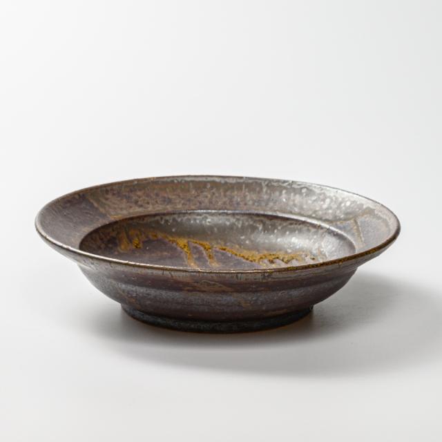 萩焼(伝統的工芸品)平鉢鉄釉ひさご