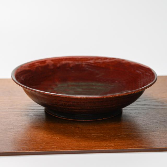 萩焼(伝統的工芸品)平鉢鉄赤釉朝顔