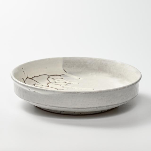 萩焼(伝統的工芸品)平鉢鬼白松端反