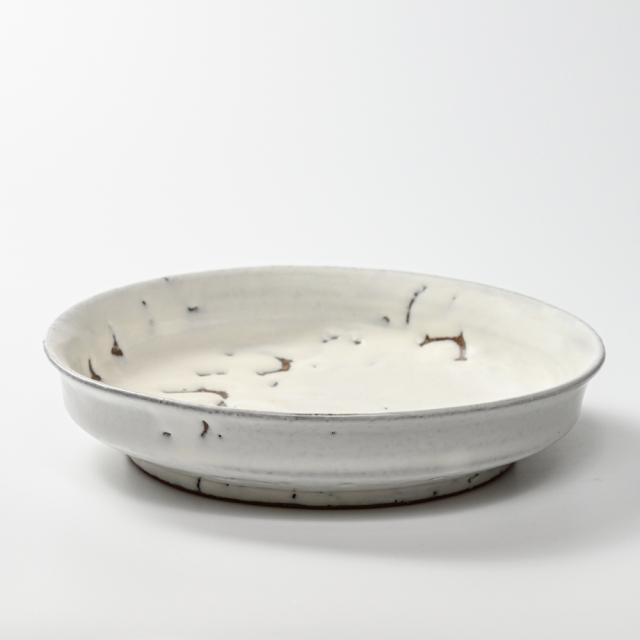 萩焼(伝統的工芸品)平鉢鬼白竹端反