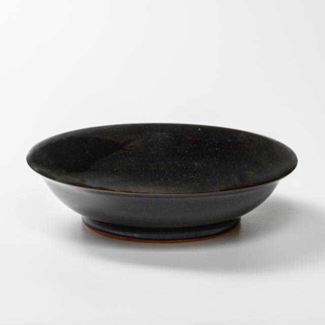 萩焼(伝統的工芸品)平鉢銀黒星釉朝顔