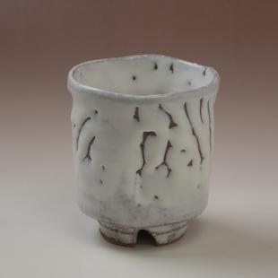 萩焼(伝統的工芸品)大湯呑鬼白荒松筒ヘラメ小