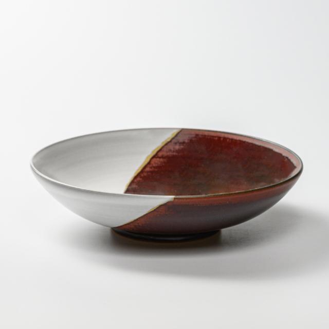 萩焼(伝統的工芸品)平鉢掛分け(白姫&鉄赤釉)丸