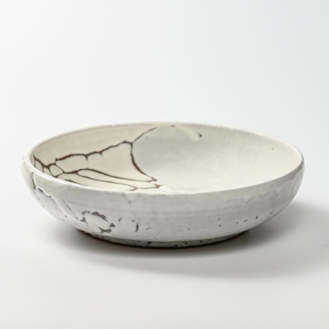 萩焼(伝統的工芸品)平鉢鬼白松丸