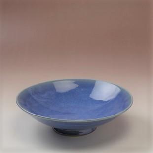 萩焼(伝統的工芸品)平鉢中透青釉末広