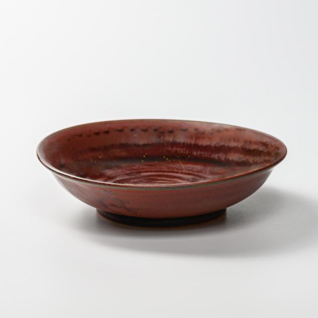 萩焼(伝統的工芸品)平鉢中鉄赤釉朝顔
