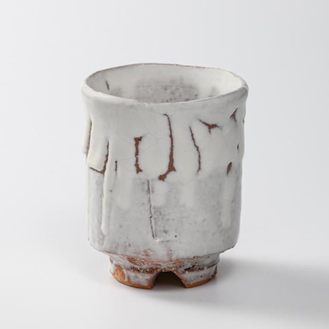 萩焼(伝統的工芸品)大湯呑鬼白特荒松筒ヘラメ