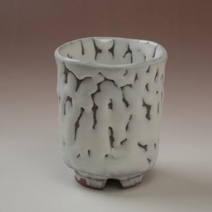 萩焼(伝統的工芸品)大湯呑鬼白松筒ヘラメ