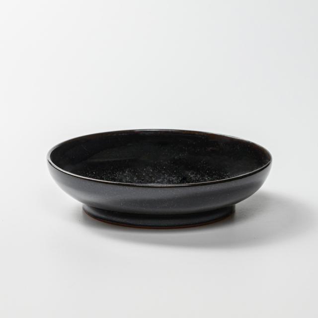萩焼(伝統的工芸品)サラダボウル銀黒星釉筒