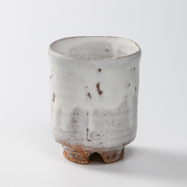 萩焼(伝統的工芸品)大湯呑鬼白特荒竹筒ヘラメ