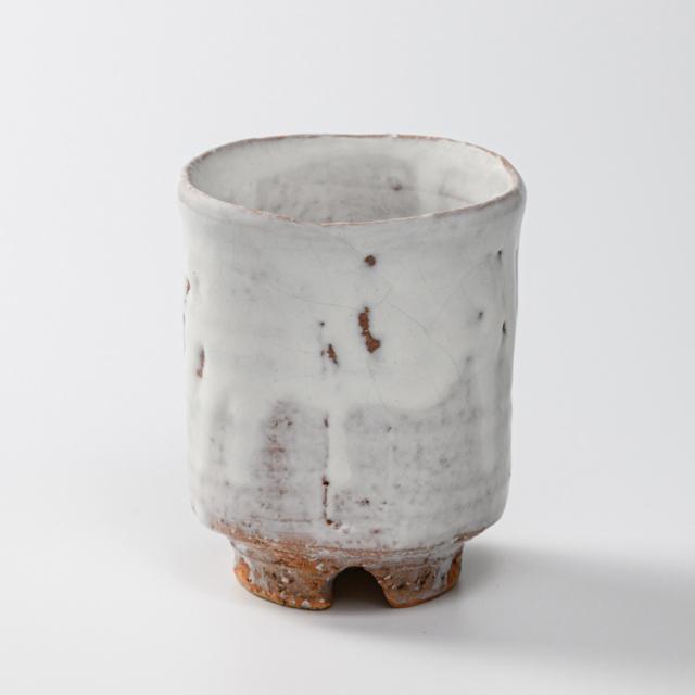 萩焼(伝統的工芸品)大湯呑鬼白特荒竹筒ヘラメNo111