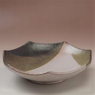 萩焼(伝統的工芸品)鉢掛分け(鬼萩&黒釉)七角