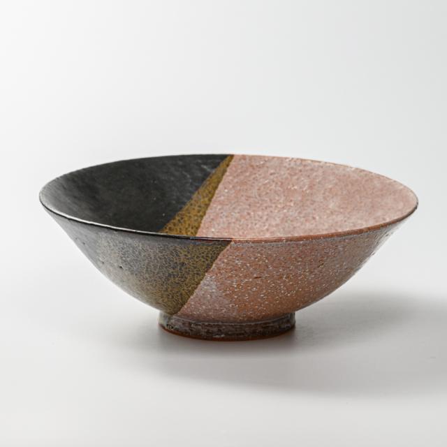 萩焼(伝統的工芸品)深鉢掛分け(鬼萩&黒釉)末広
