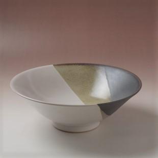 萩焼(伝統的工芸品)深鉢掛分け(白姫&黒釉)末広