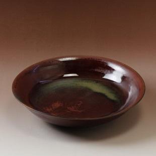 萩焼(伝統的工芸品)特大鉢鉄赤釉朝顔